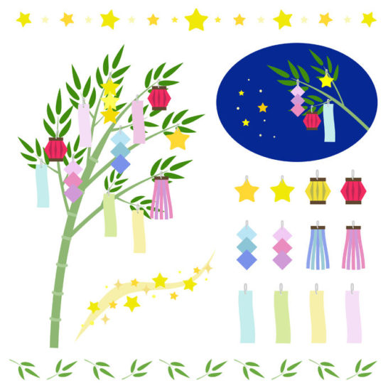 41246937 - set of star festival ornamentstanabata